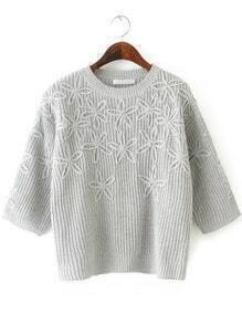 Round Neck Disc Flowers Grey Sweater