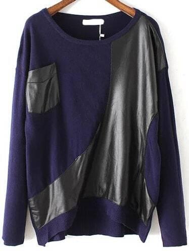 Контрастное PU карман королевский синий свитер