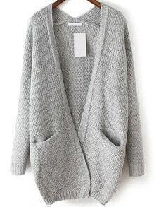 Slit Pockets Fuzzy Pale Grey Coat