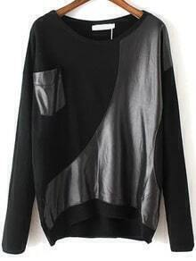Contrast PU Pocket Black Sweater