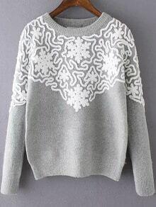 Round Neck Disc Flowers Grey Sweater
