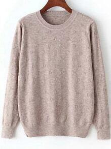 Round Neck Dotted Crochet Khaki Sweater