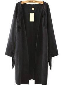 Long Sleeve Tassel Suede Black Coat