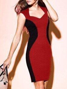 V Neck Sleeveless Bodycon Color-block Dress