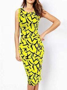 Sleeveless Brushstroke Print Pencil Dress