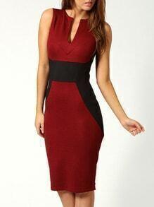 Sleeveless V Cut Sheath Red Dress