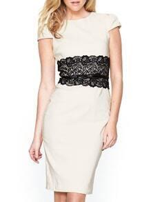 Contrast Lace Slit Sheath White Dress