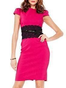 Contrast Lace Slit Sheath Rose Red Dress