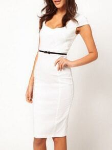 Square Neck Sheath White Dress