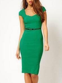 Square Neck Sheath Green Dress