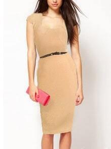 Square Neck Sheath Apricot Dress