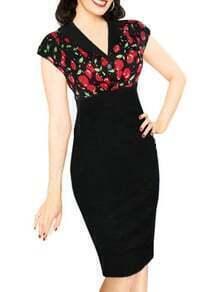 V Neck Cherry Print Sheath Dress