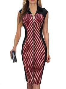 Lapel Zipper Polka Dot Slim Dress