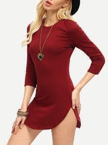 Wine Red Round Neck Split Casual Dress