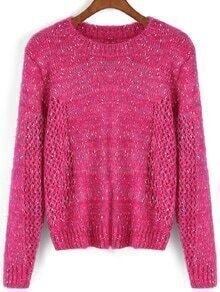 Round Neck Open-Knit Rose Red Sweater
