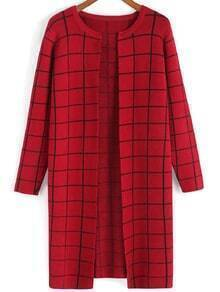 Round Neck Plaid Red Coat