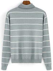 Turtleneck Striped Grey Sweater