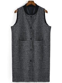 Stand Collar Pockets Buttons Grey Vest