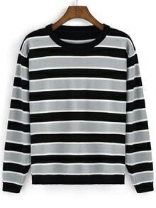 Round Neck Striped Black Sweatshirt