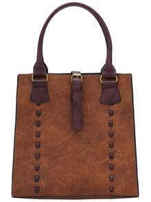 Brown Belt Buckle PU Bag