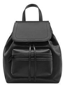 Black Zipper Drawstring PU Backpacks