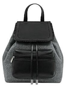 Grey Zipper Drawstring PU Backpacks