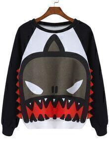 Shark Pattern Color-block Sweatshirt
