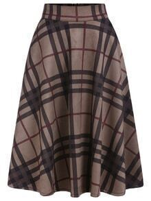 Checkered Zipper Flare Skirt