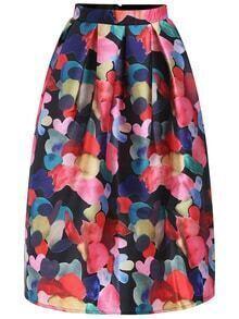Florals Zipper Midi Skirt