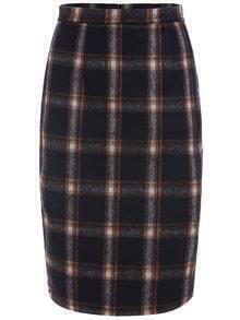 Plaid Zipper Slim Skirt