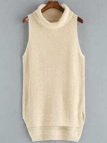 Turtleneck High Low Apricot Sweater Vest