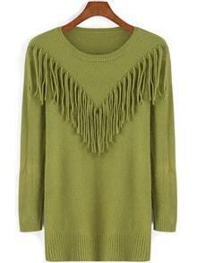 Round Neck Tassel Green Sweater