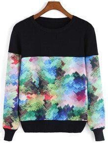 Round Neck Patchwork Sweater