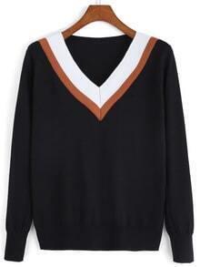 V Neck Chevron Print Black Sweater