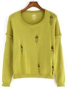 Round Neck Ripped Loose Sweater
