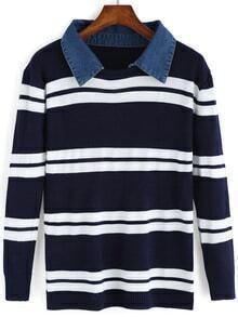 Contrast Collar Striped Sweater