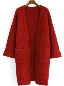 Open Front Pockets Coat