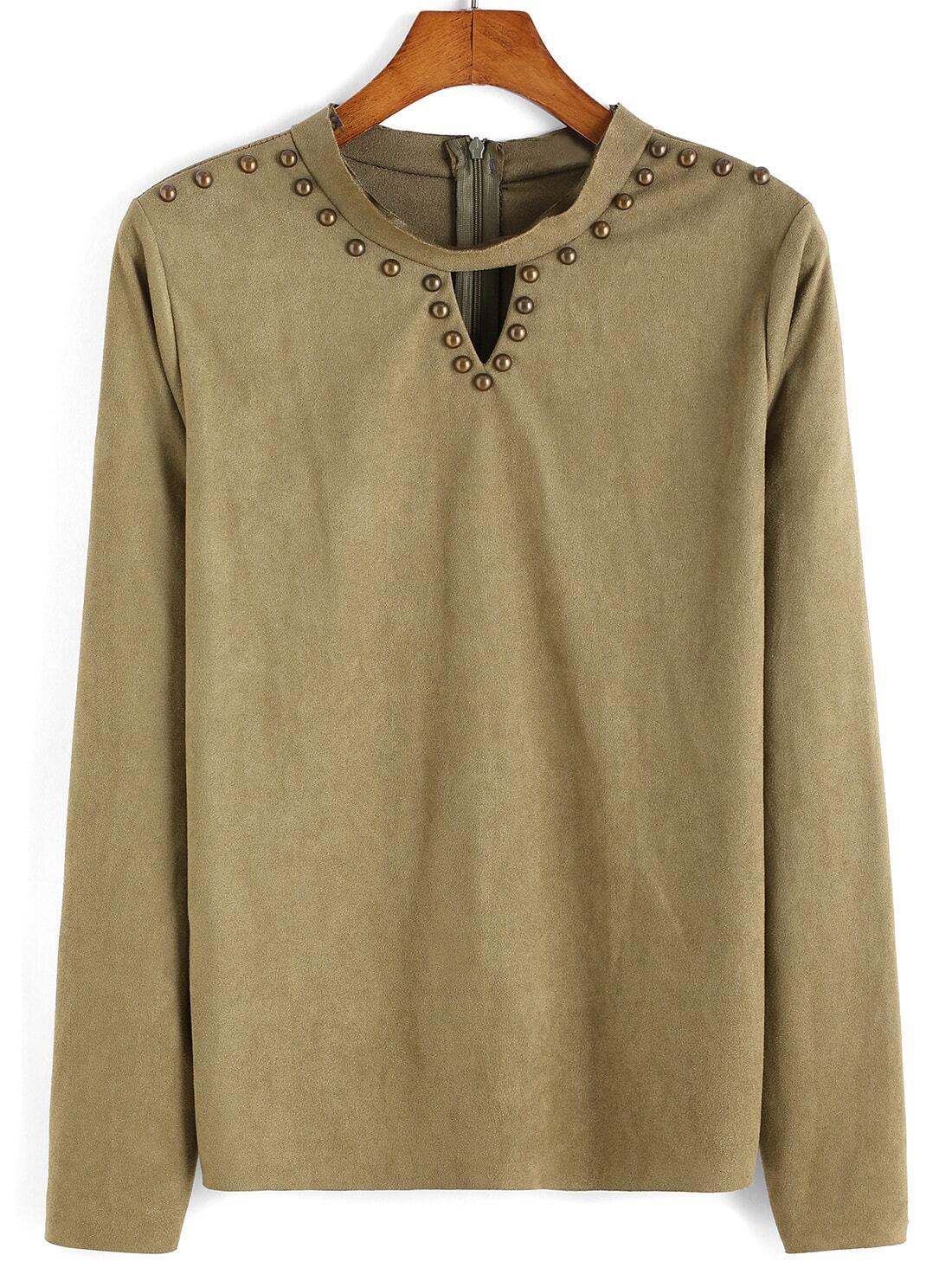 Long Sleeve V Cut Rivets T Shirtfor Women Romwe