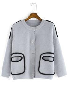 Round Neck Buttons Pockets Coat