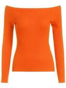Boat Neck Slim Orange Sweater