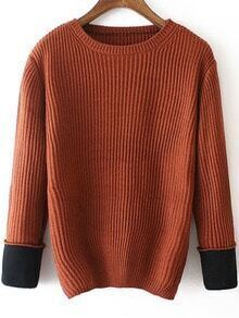 Contrast Cuffed Brown Sweater