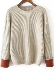 Contrast Cuffed Apricot Sweater