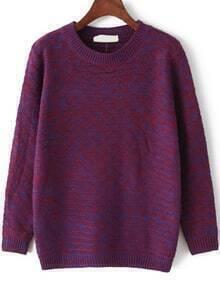 Round Neck Loose Purple Sweater