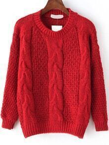 Cable Knit Fuzzy Red Sweater