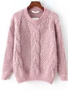 Cable Knit Fuzzy Pink Sweater