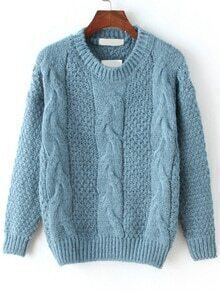 Cable Knit Fuzzy Blue Sweater