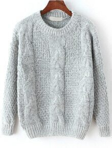 Cable Knit Fuzzy Grey Sweater
