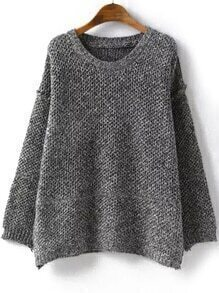Round Neck Loose Grey Sweater