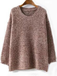 Round Neck Loose Coffee Sweater