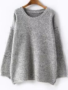 Round Neck Loose Pale Grey Sweater